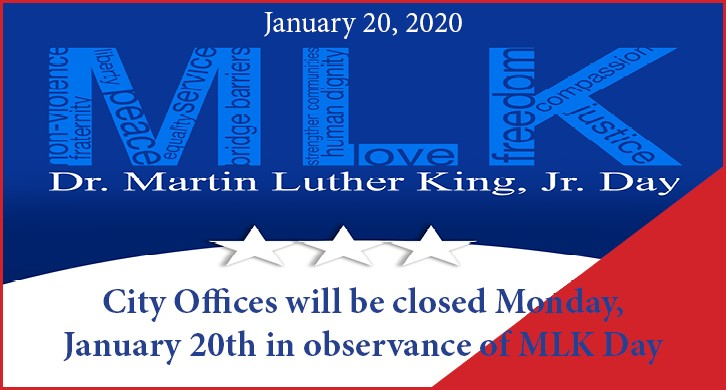 2020 MLK Day notice with inspiring words inside MLK's initials, done in red, white and blue with