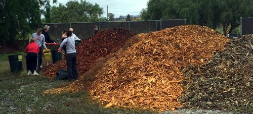 People Shoveling Piles of Mulch into Containers
