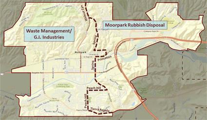 Map showing areas of each solid waste franchisee in Moorpark