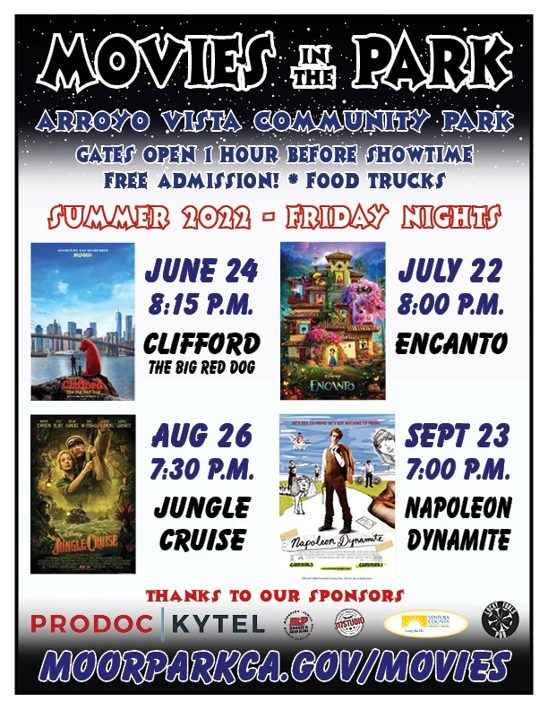 Movies in the Park Flyer 2020