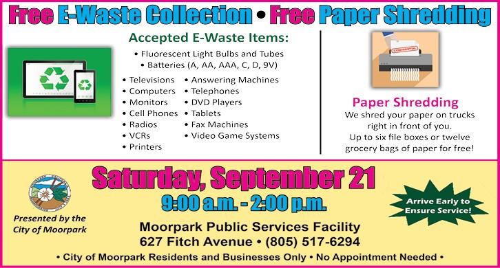 2019 Sept 21 E-Waste Shredding 627 Fitch Ave, Moorpark residents and businesses only
