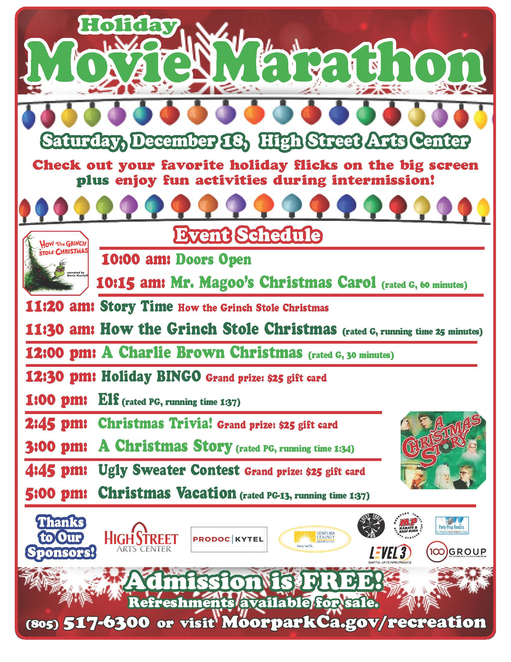 Holiday Movie Marathon Flyer 2019
