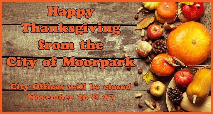 pictures of pumpkins, pine cones and leaves on a wooden floor with thanksgiving closure information
