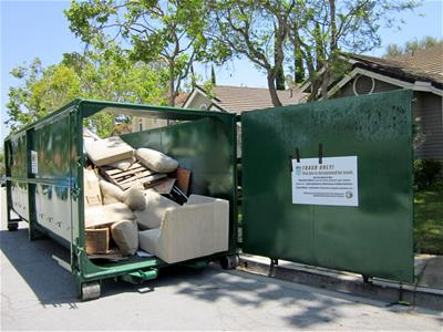 View of Roll-Off Bin with Trash Inside