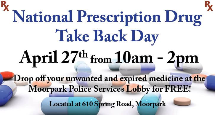 Prescription Take Back Day 2019 is April 27 at the Moorpark Police Station @ 610 Spring Road