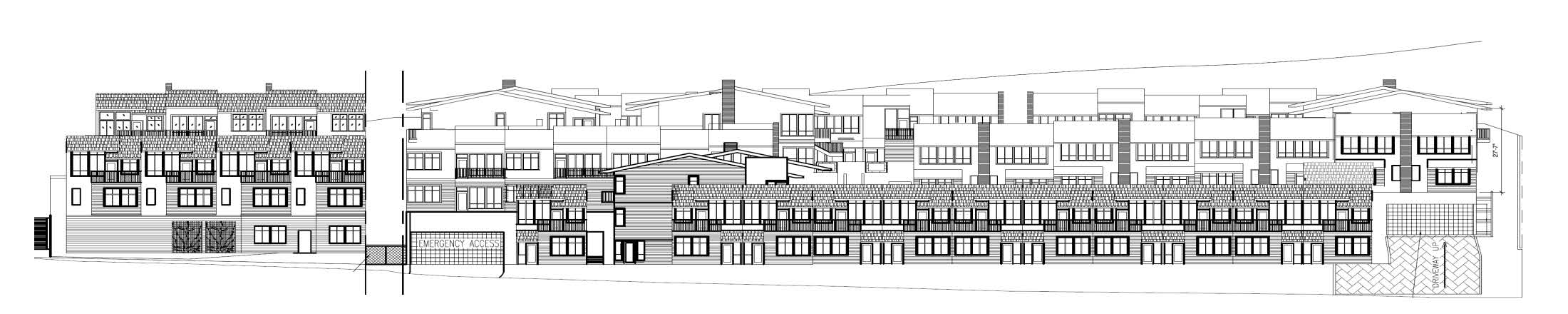 Everett Street Terraces Front Elevation