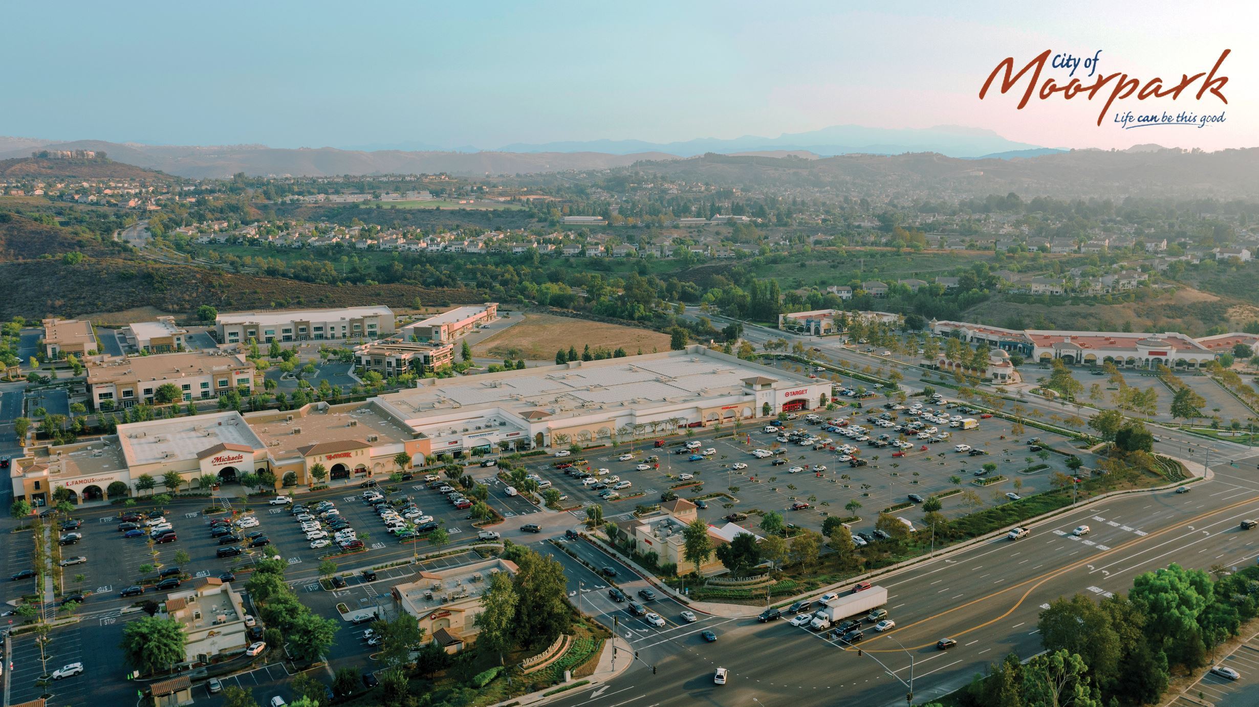 Aerial Photo of Moorpark Marketplace and surrounding neighborhoods