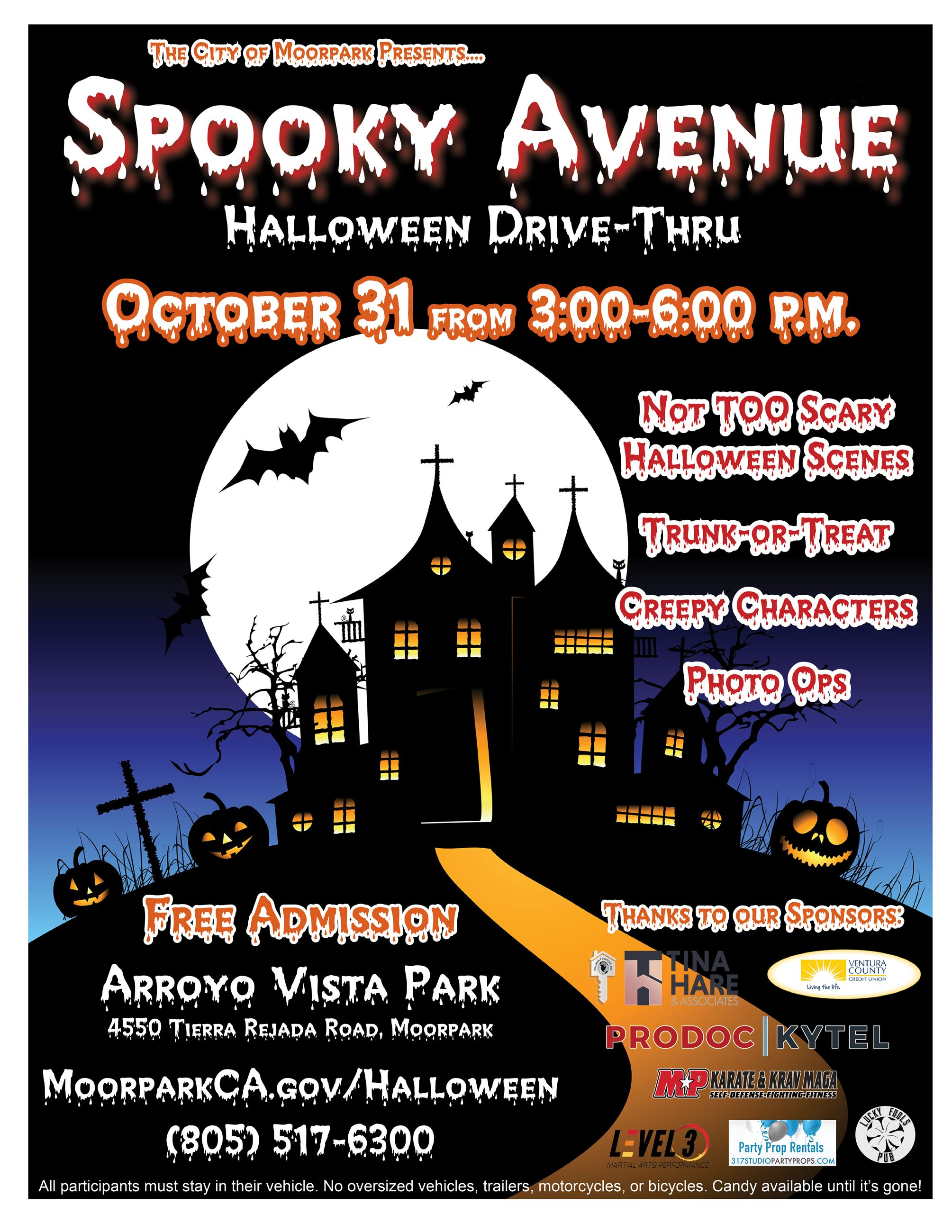 Spooky Avenue Halloween Drive-Thru Event Flyer