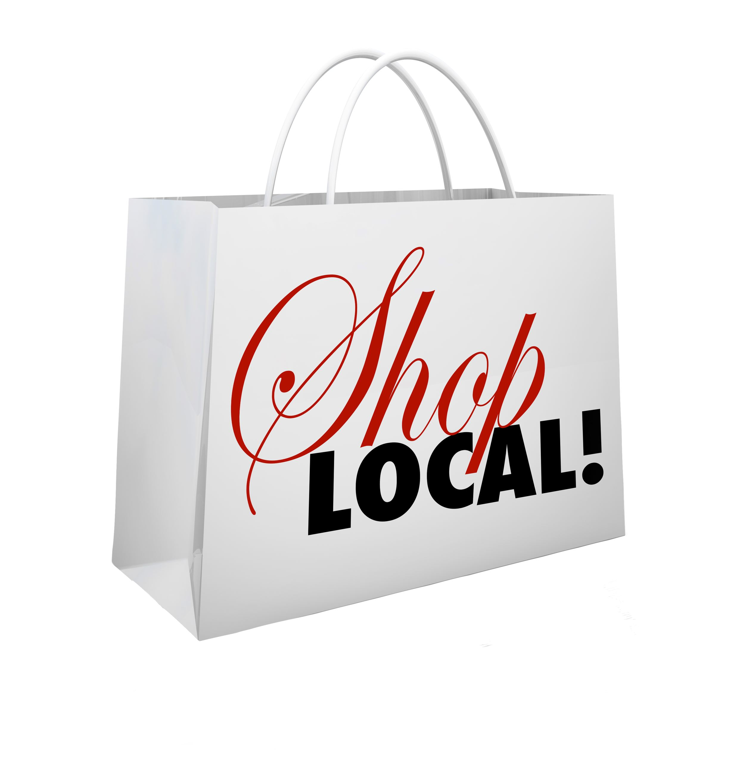 white handled bag with red letters saying shop local